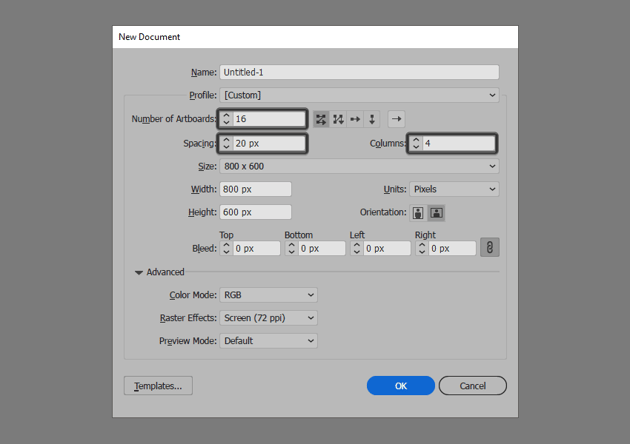 illustrator new document setup