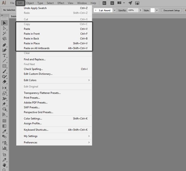 pasting shortcuts in illustrator