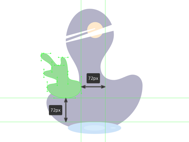 drawing the main shape for the left leaf