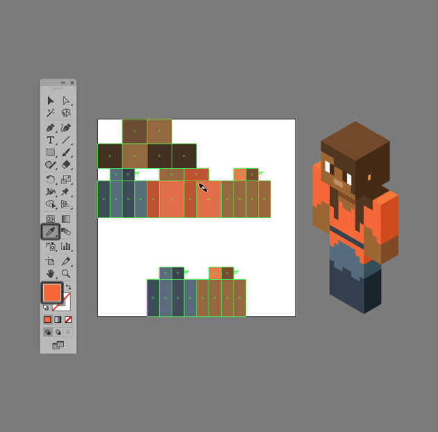applying colors to the different sections of the skin