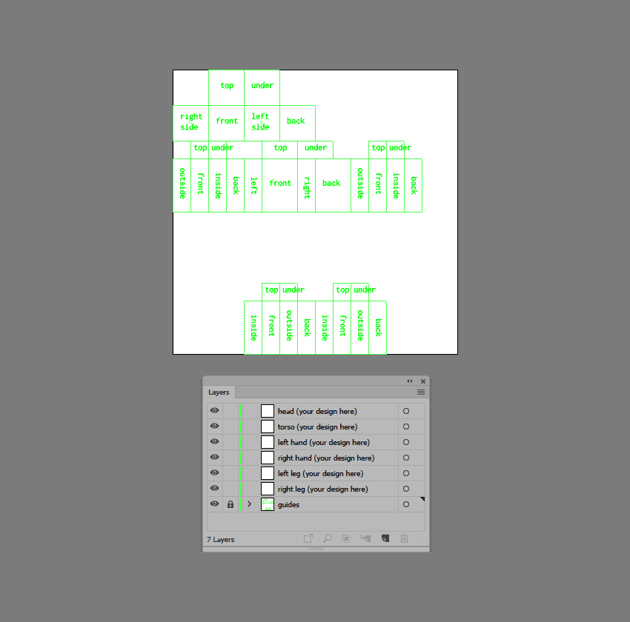 example of the custom layers found within the template