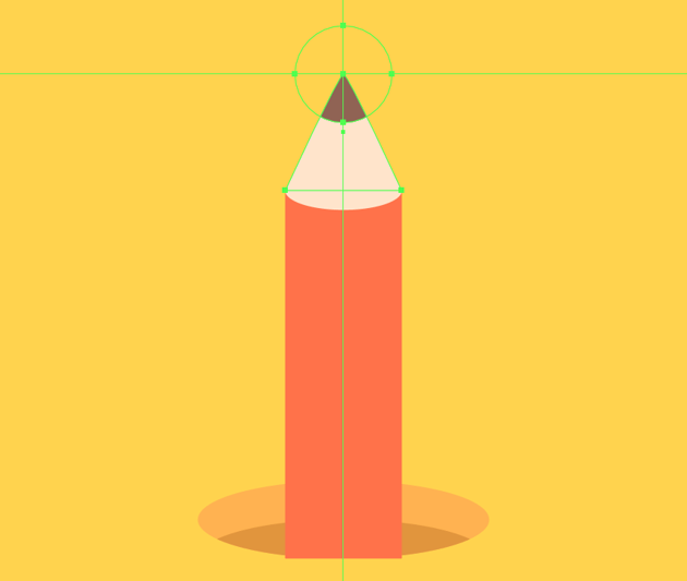 adding the colored section to the tip of the upward-facing pencil