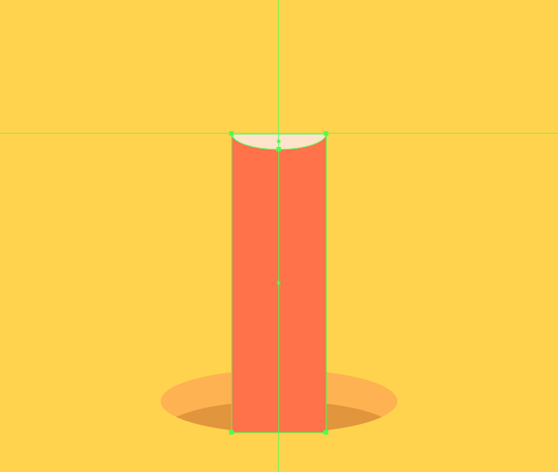 adding the lower section of the tip to the upward-facing pencil