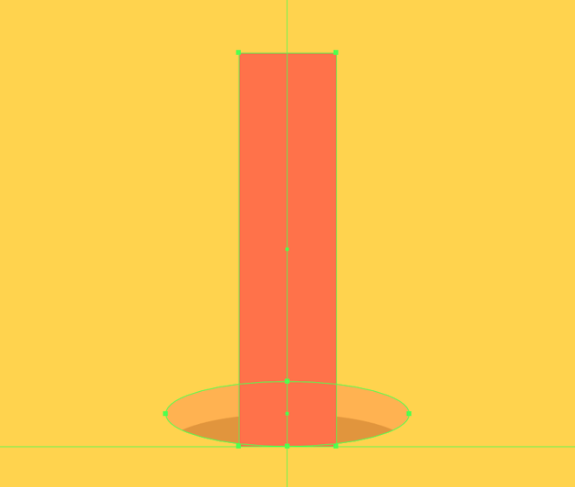 creating the main shape for the down-facing pencil