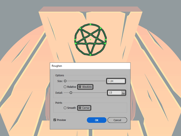 applying a roughen effect to the occult symbol