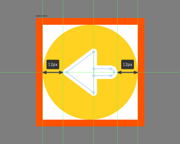 finishing off the back button icon