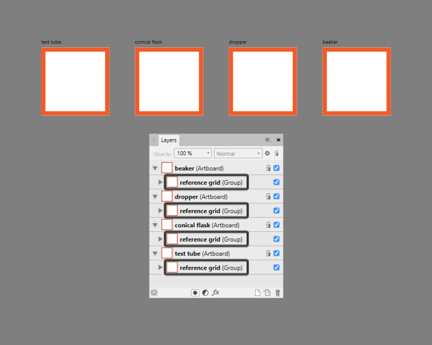 adding the reference grids to the remaining artboards