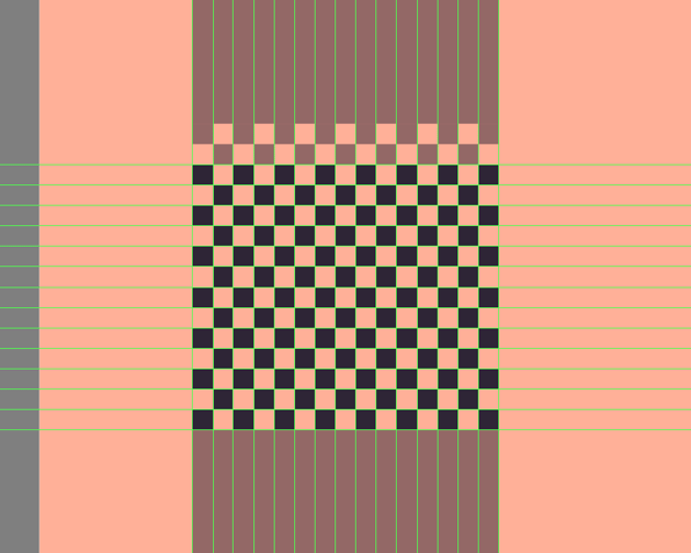 adding the remaining rows of smaller squares to the first pattern