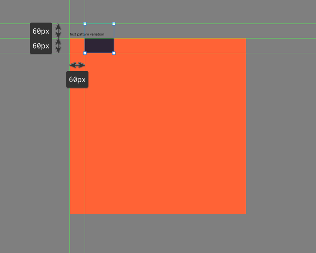 creating the initial plain square for the first pattern