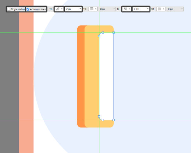 adjusting the shape of the indicator section