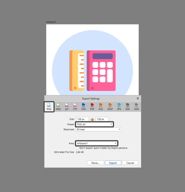 example of exporting the icon