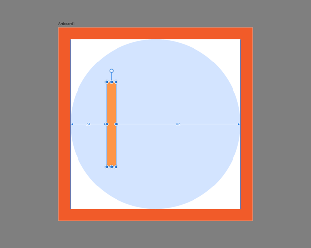 example of positioning the shapes based on the indicated spacing values