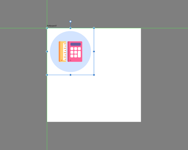 pasting the masked icon onto the larger artboard