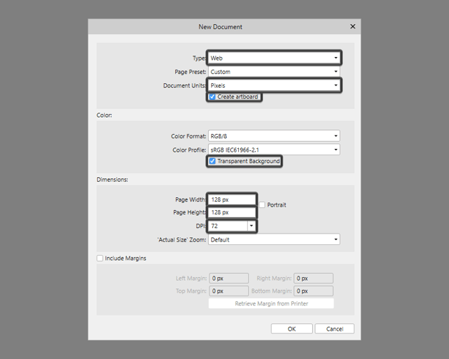 setting up a new document in ad
