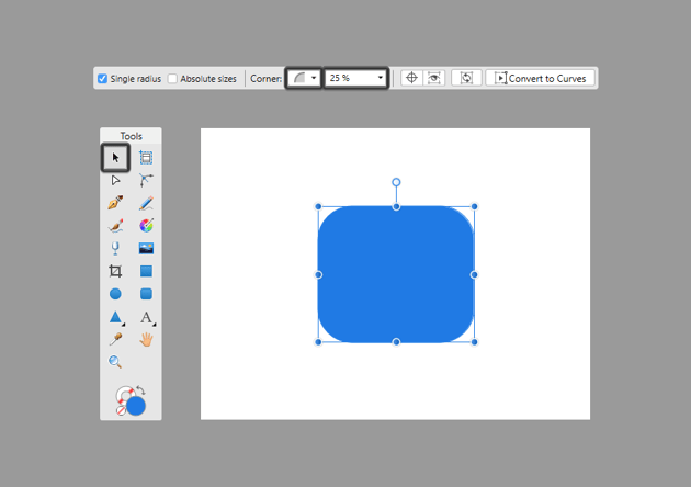 choosing a corner type for the rectangle