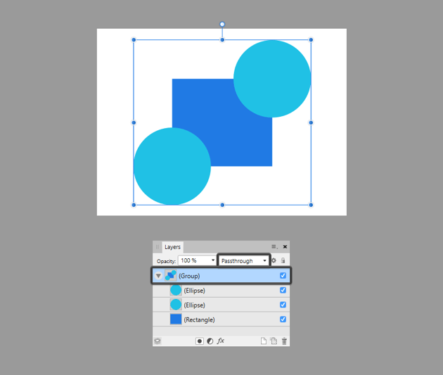 example of default blend mode for grouped shapes