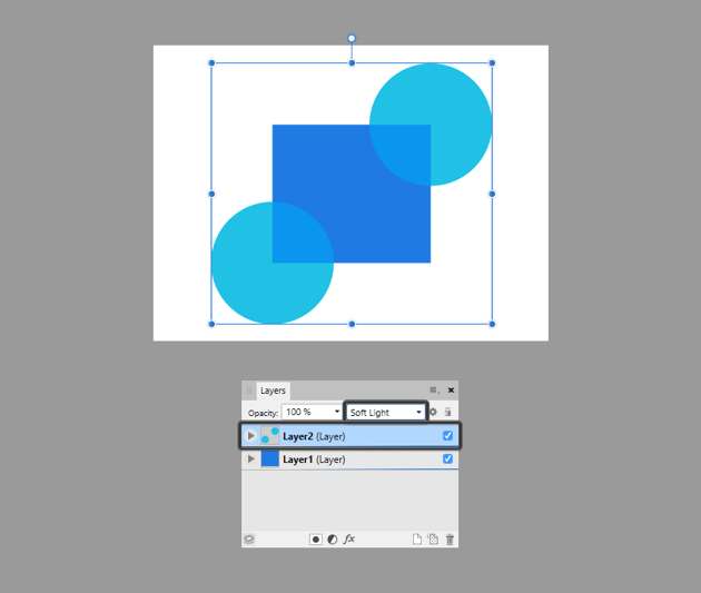 example of using blend modes on layers