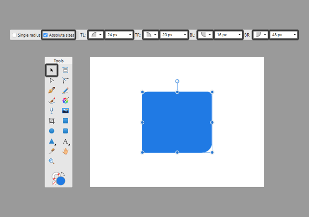 individually adjusting the corners of a rectangle