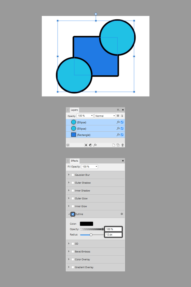 using the same effect on multiple shapes