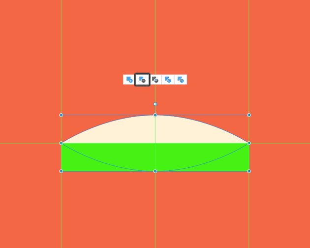 example of cutting a shape in half using the subtract operation