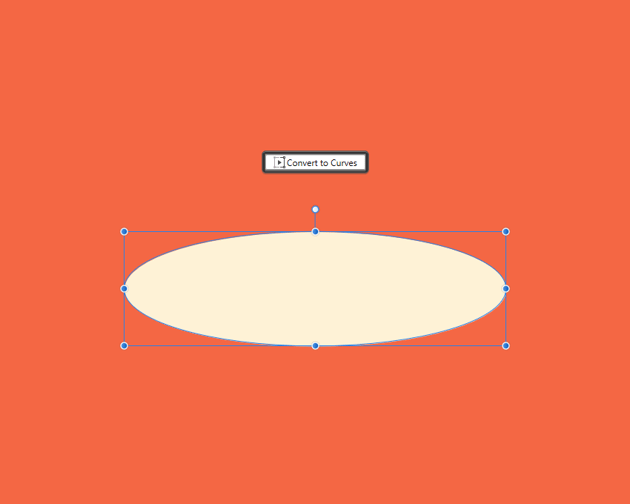 example of converting a shape to curves