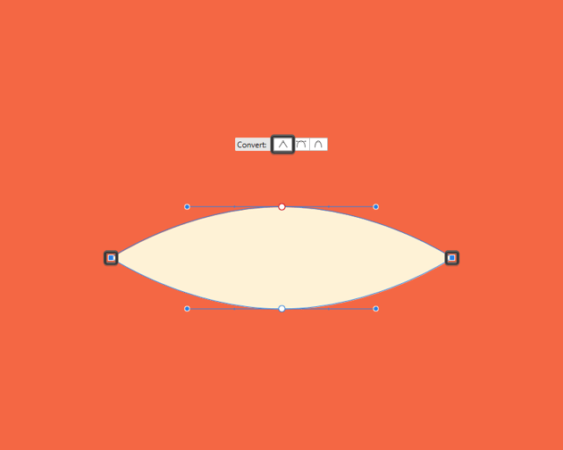 example of pinching the nodes of a shape