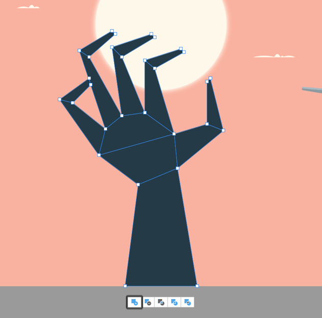 uniting the shapes of the center hand