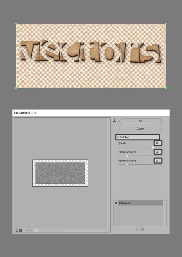 adding the reticulation effect
