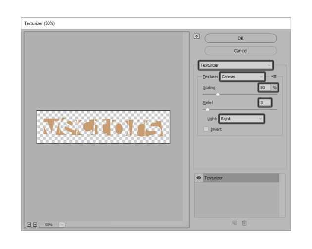 adding the texturizer effect