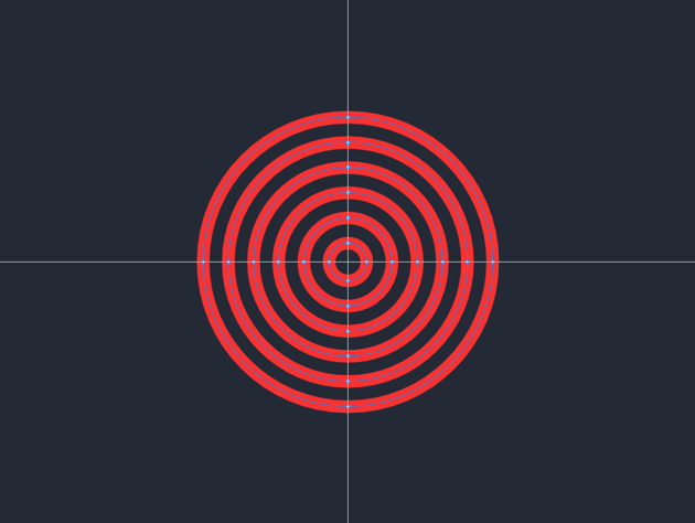adding the remaining circles to the inner section of the larger decorative circle