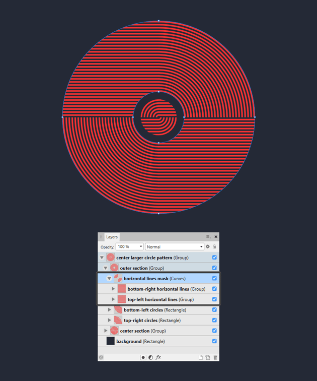 adjusting the clipping mask for the larger outer section