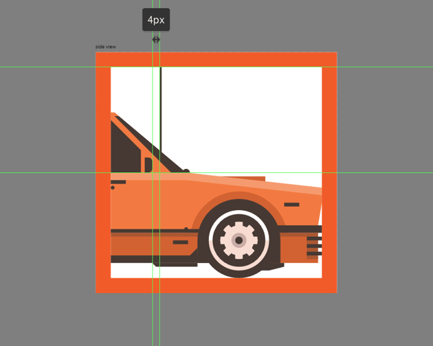 finishing off the side view car icon