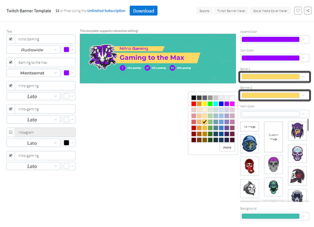 example of changing the color of the smaller banners