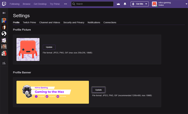 uploading the banner within twitch