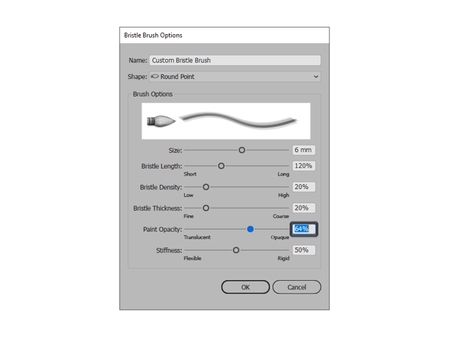 adjusting the opacity of the bristle brush