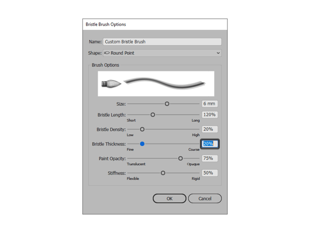adjusting the thickness of the bristle brush