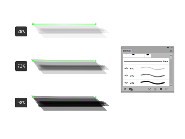 example of different bristle brushes paint opacities