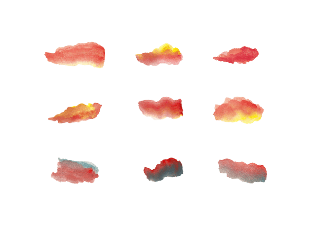 example of drawn watercolor brush strokes