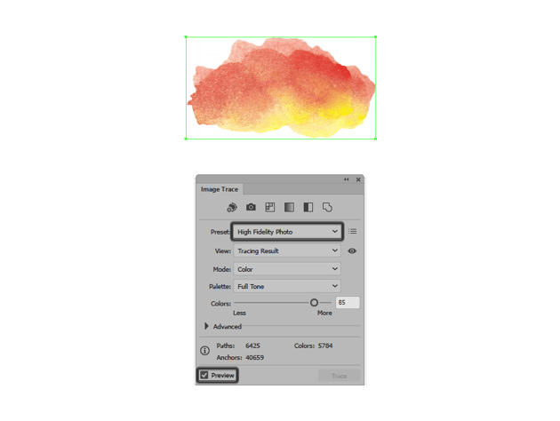 setting the preset for the image trace function