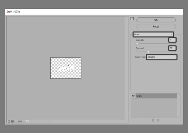 adding the grain effect to the rectangle