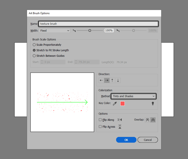 adjusting the settings for the texture brush