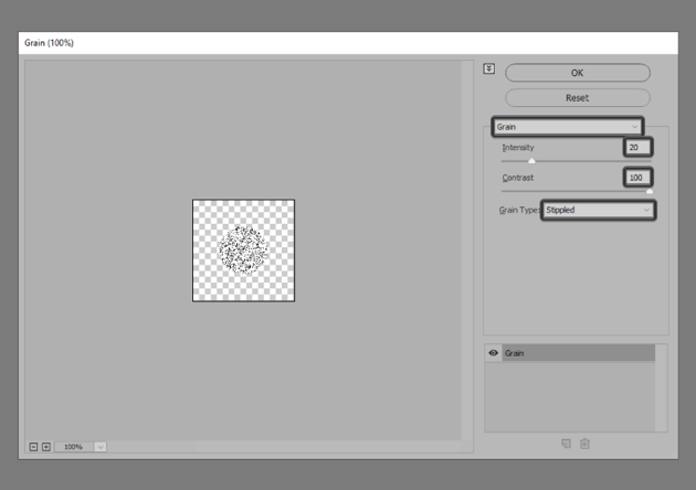 example of adding a grain effect to the circle