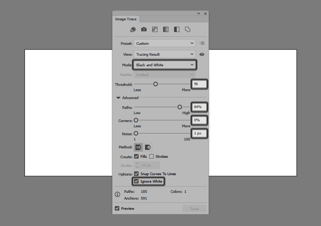 tracing the resulting rectangle effect