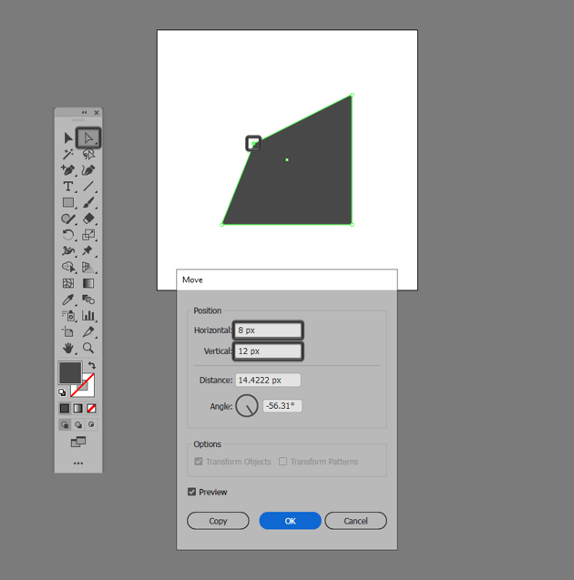 adjusting the position of an anchor using the move tool