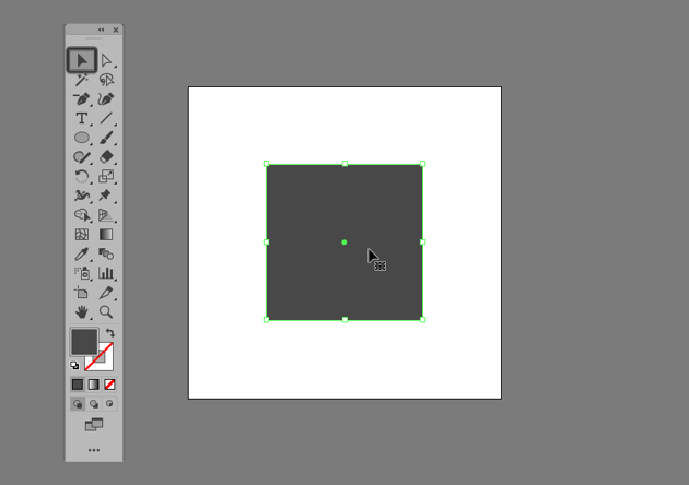 example of selecting a single shape using the click method in illustrator