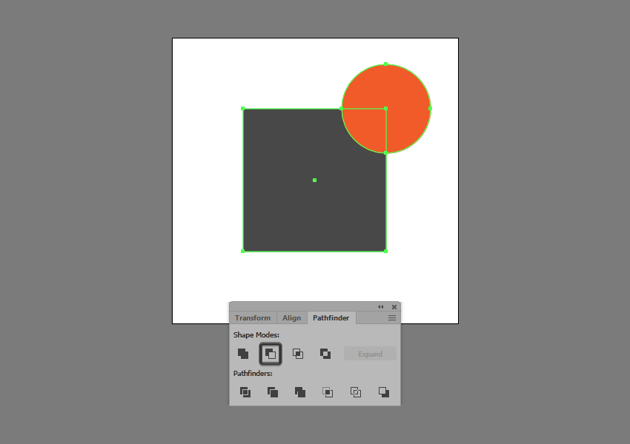 example of using minus front in illustrator