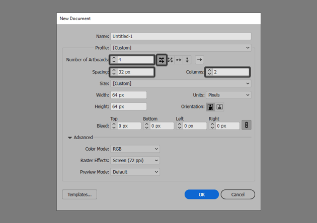 setting up a new document in illustrator