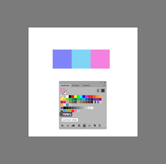 example of created color group using color swatches