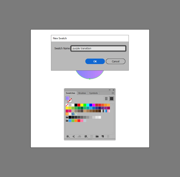 example of creating a gradient swatch