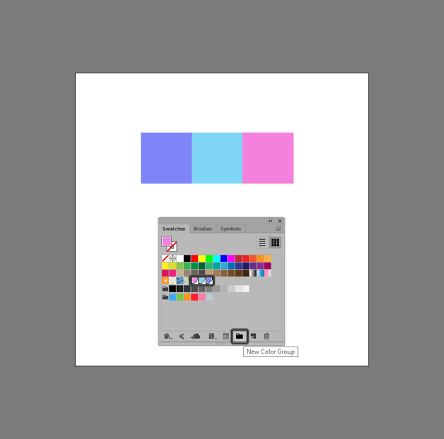 example of creating a color group using created swatches